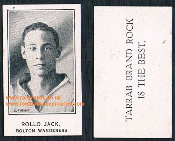 1924 Jack Rollo Bolton Wanderers Plymouth Barratt Tarrab Brand Rock soccer trade card